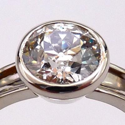 Diamond and Eighteen Karat White Gold Engagement Ring