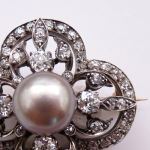 French Natural Pearl, Diamond and Silver Topped Gold Brooch