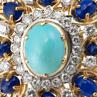 Turquoise, Lapis Lazuli, Diamond and Eighteen Karat Gold Brooch
