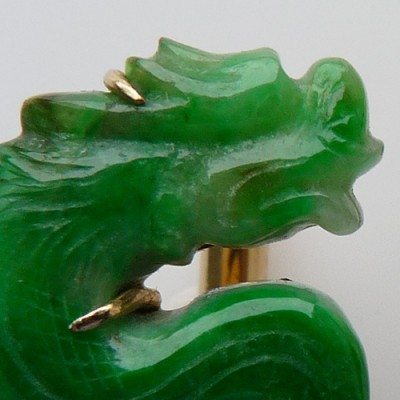 Carved Jadeite Jade and Eighteen Karat Yellow Gold Cufflinks