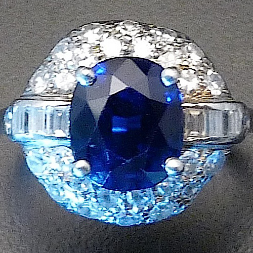 Art Deco Sapphire, Diamond and Platinum Ring