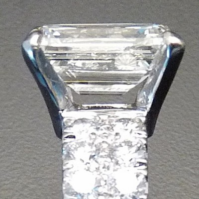 Emerald Cut Diamond and Eighteen Karat White Gold Ring