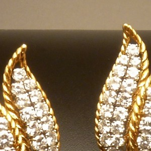 Diamond, Eighteen Karat Gold and Platinum Earrings
