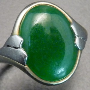 Jadeite Jade, Platinum and Eighteen Karat Yellow Gold Ring