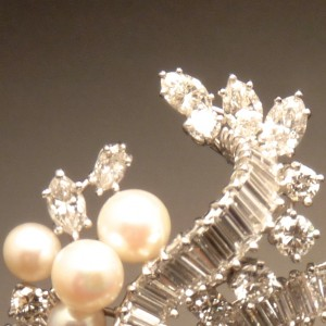 Diamond, Cultured Pear and Platinum Brooch