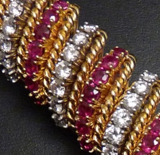 Diamond, Ruby and Eighteen Karat Yellow Gold Bracelet