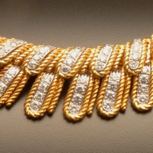 Diamond, Eighteen Karat Yellow and White Gold Necklace