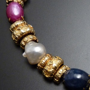 Sapphire, Emerald Ruby, Diamond and Eighteen Karat Yellow Gold Necklace-David Webb