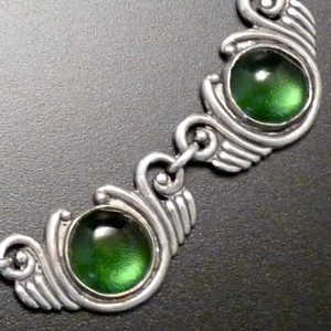 Sterling Silver and Green Glass Necklace-Los Castillos, Mexico