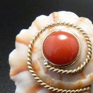 Coral, Shell and Eighteen Karat Yellow Gold Earrings