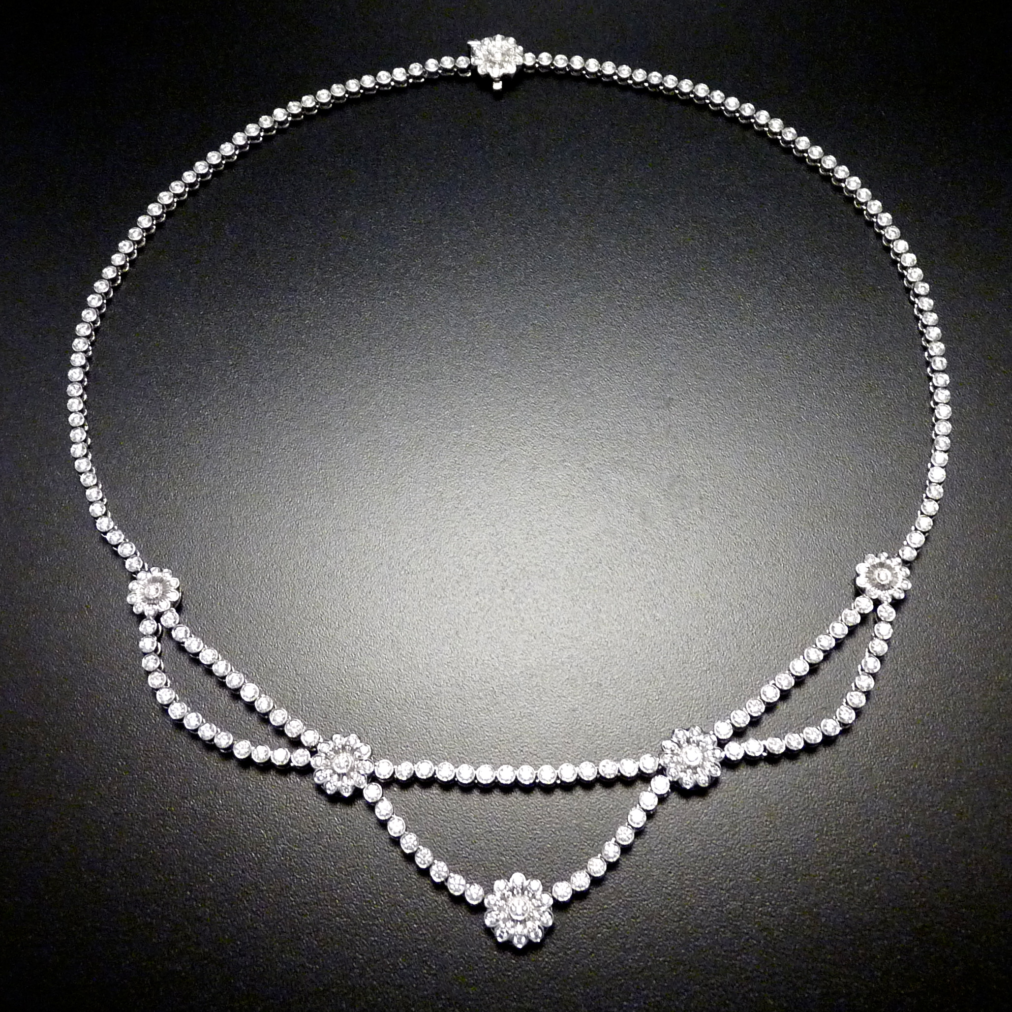 Diamond and Platinum Necklace and Earrings Tiffany & Co