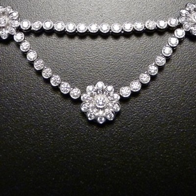 Diamond and Platinum Necklace and Earrings-Tiffany & Co.