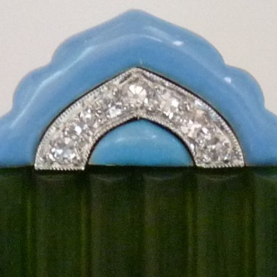 Diamond, Jade and Enamel Clip Brooch, Cartier