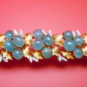 Emerald and Fourteen Karat Yellow and white Gold Bracelet