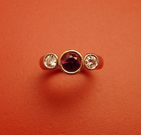 Ruby, Diamond, 18k Yellow Gold and Platinum Ring