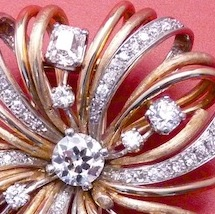 Diamond. Platinum and Fourteen Karat Yellow Gold Brooch