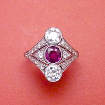 Edwardian Ruby, Diamond and Platinum Ring
