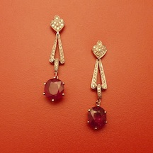 Ruby, Diamond and Eighteen Karat White Gold Earrings