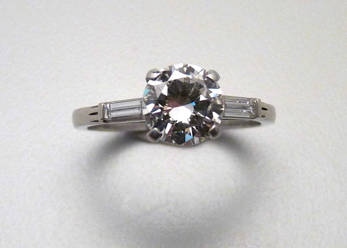 Diamond and Platinum Engagement Ring, Circa 1960